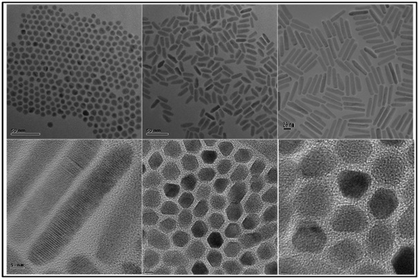 Images of CdSeS alloyed nanocrystals of different aspect ratio