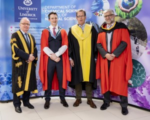 02/05/2019 Prof Kevin M Ryan pictured with President Prof Des Fitzgerald,  Dean, Prof Edmond Magner and Prof Tewfik Soulimane, VP Research at his Inaugural lecture which took place in the Analog Building, University of Limerick. Don Moloney / Press 22